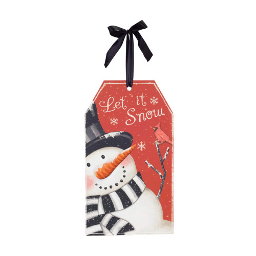 """13.5"""" Red and White """"Let It Snow"""" Snowman Tag Sign - IMAGE 1"""