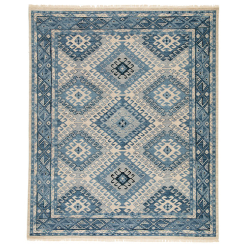 8' x 10' Blue and Gray Hobbs Hand-Knotted Geometric Area Throw Rug - IMAGE 1