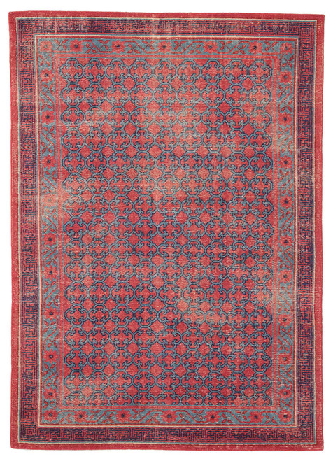 9' x 12' Red and Blue Hand Knotted Rectangular Area Throw Rug - IMAGE 1