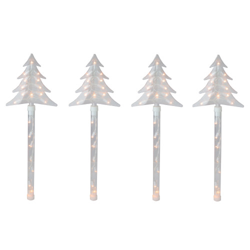 4ct Lighted Christmas Tree Pathway Marker with Lawn Stakes White Wire - Clear Lights - IMAGE 1