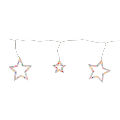 100-Count Multi-Color Star Shaped Mini Icicle Christmas Lights, 7ft White Wire - IMAGE 1