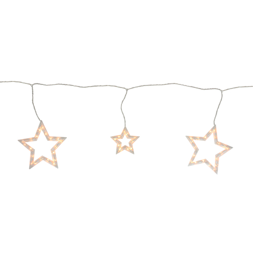 6 Clear Star Shaped Icicle Christmas Lights - 9 ft White Wire - IMAGE 1