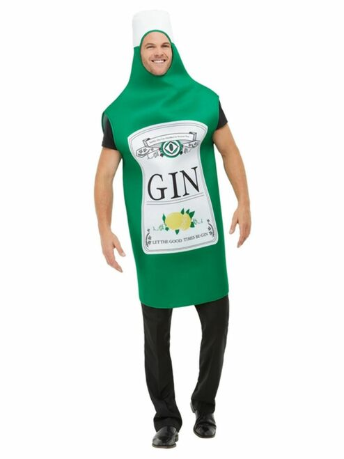"""49"""" Green and White Gin Bottle Men Adult Halloween Costume with Tabard - One Size - IMAGE 1"""
