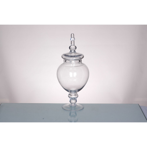 """15.5"""" Clear Glass Tabletop Apothecary Jar with Lid - IMAGE 1"""