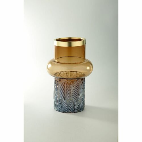 "12"" Blue and Gold Leaf Pattern Cylindrical Glass Flower Vase - IMAGE 1"