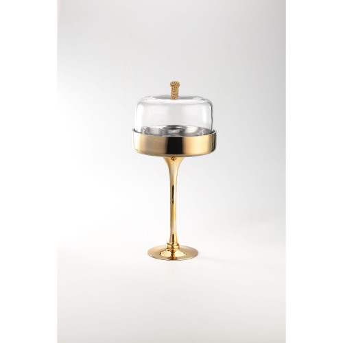 """16"""" Clear and Gold Glass Accessory Tabletop Decor - IMAGE 1"""