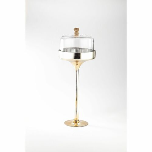 """20"""" Clear and Gold Contemporary Glass Dome Tabletop Decor - IMAGE 1"""