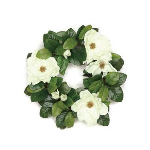 Magnolia Blossoms and Leaves Spring Floral Wreath, Green 20-Inch - IMAGE 1