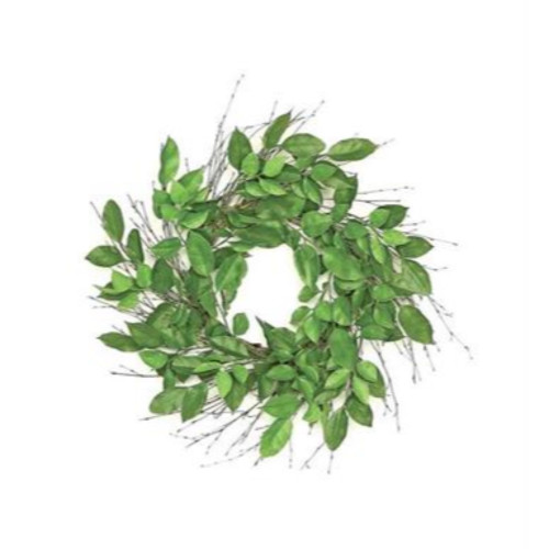 Lemon Leaves Nature Inspired Artificial Spring Wreath, Green 24-Inch - IMAGE 1