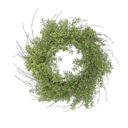 Boxwood Nature Inspired Artificial Spring Wreath, Green 24-Inch - IMAGE 1