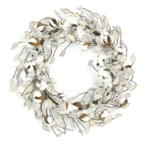 Nature Inspired Artificial Spring Wreath, White and Brown 22-Inch - IMAGE 1