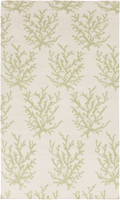 9' x 13' Contemporary Lime Green and Ivory Rectangular Area Throw Rug - IMAGE 1