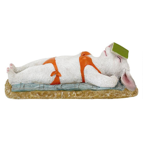 """13"""" Lounging By The Pool Bunny Outdoor Statue - IMAGE 1"""