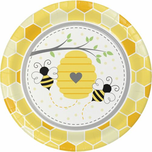 """Club Pack of 96 Yellow and Gray Bumblebee Round Plates 8.8"""" - IMAGE 1"""