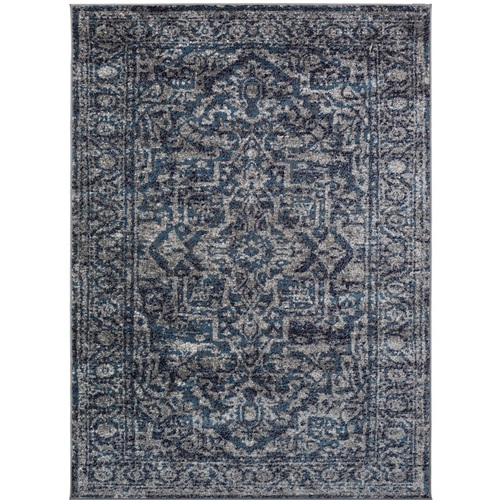 "6'7"" x 9' Mandala Pattern Navy Blue and Light Gray Machine Woven Area Rug - IMAGE 1"