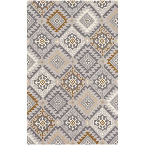 5' x 8' Contemporary Gray and Brown Rectangular Area Throw Rug - IMAGE 1