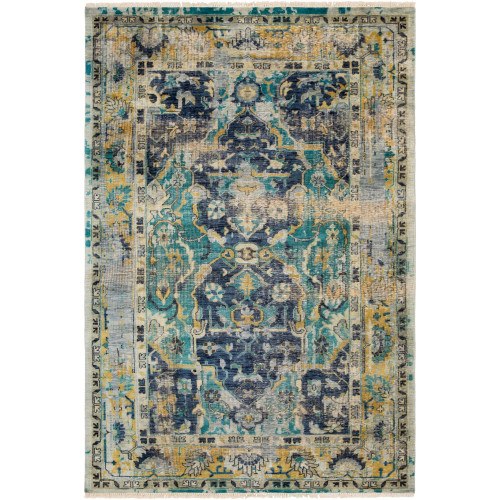 2' x 3' Oriental Patterned Teal and Navy Blue Hand Knotted Rectangular Area Throw Rug - IMAGE 1