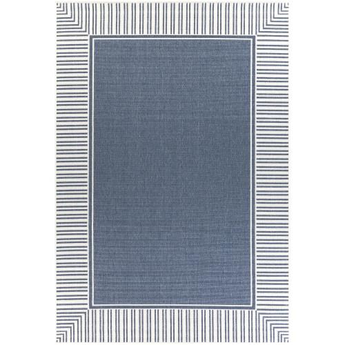 "7'6"" x 10'9"" Stripe Border Patterned Blue and Ivory Rectangular Area Rug - IMAGE 1"