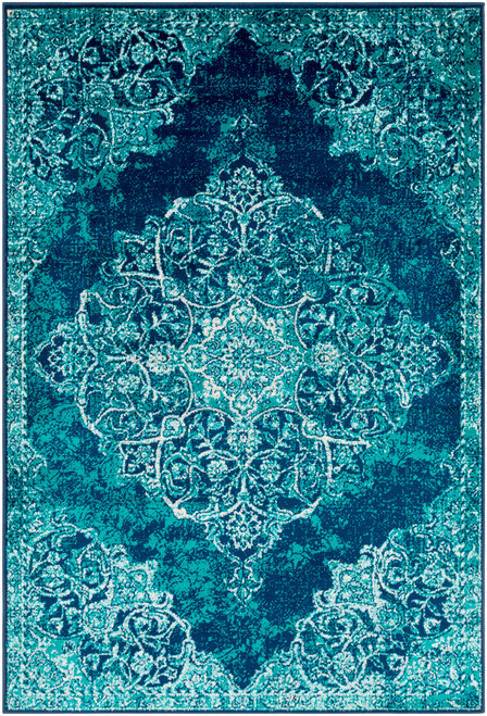 2' x 3' Teal Green and Aqua Blue Damask Shed-Free Area Throw Rug - IMAGE 1