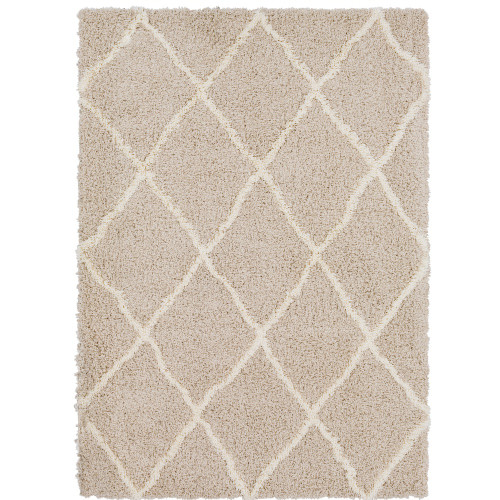 2' x 3' Beige and White Moroccan Diamond Patterned Rectangular Machine Woven Area rug - IMAGE 1