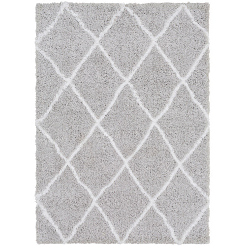 2' x 3' Gray and White Moroccan Diamond Patterned Rectangular Machine Woven Area Rug - IMAGE 1