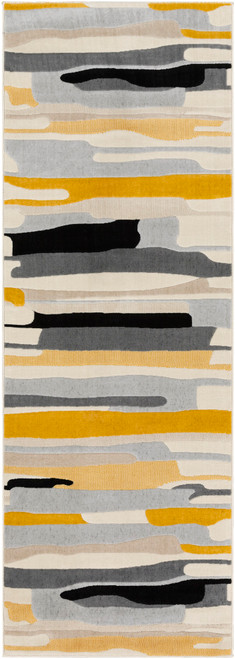 2' x 3' Mustard Yellow and Gray Shed-Free Rectangular Area Throw Rug - IMAGE 1