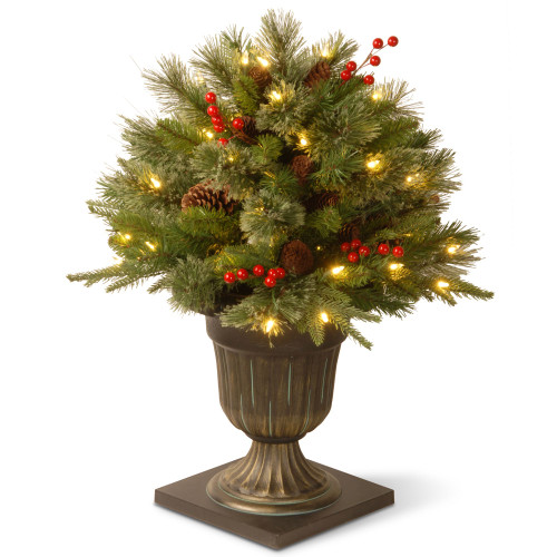"""24"""" Pre-lit Potted Colonial Porch Bush Artificial Christmas Tree – Clear Lights - IMAGE 1"""