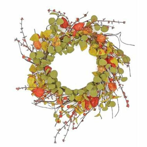 Bittersweet Artificial Spring Floral Wreath, Green and Red 24-Inch - IMAGE 1