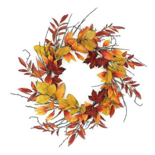 Mixed Leaves Artificial Autumn Wreath, Red and Green 24-Inch - IMAGE 1