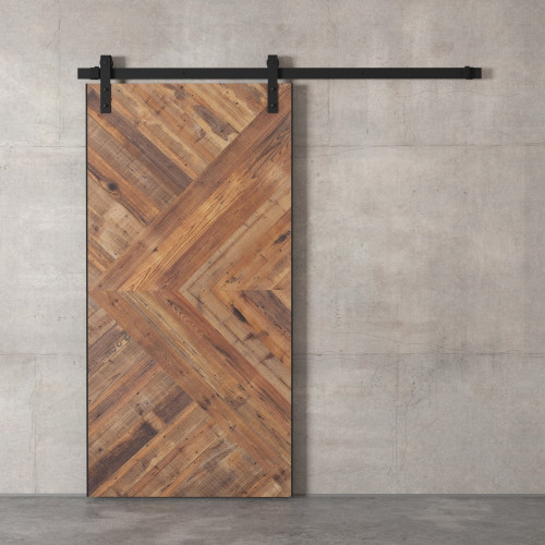 "96"" x 36"" Natural Brown and Silver Modesto Sliding Wood Barn Door - IMAGE 1"