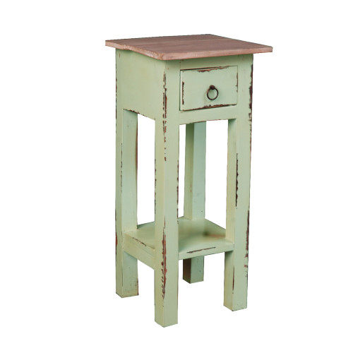 """25.75"""" Distressed Bahama Limewash and Brown Cottage Narrow Side Table with Drawer - IMAGE 1"""