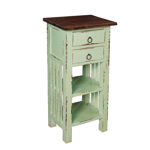 """30"""" Brown and Green End Table with Drawers and Shelves - IMAGE 1"""