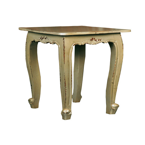 """24"""" Gold Distressed Cottage Accent Table - IMAGE 1"""