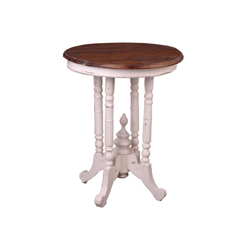 """25.25"""" Distressed White and Brown End Table with Round Top - IMAGE 1"""