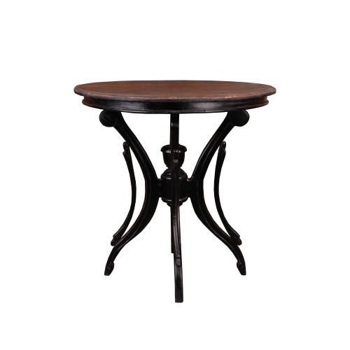 """28"""" Distressed Black and Brown Accent Table with Round Top - IMAGE 1"""