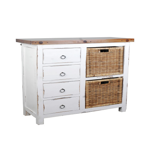 """41"""" Whitewashed and Brown Trading Cottage Basket Cabinet - IMAGE 1"""