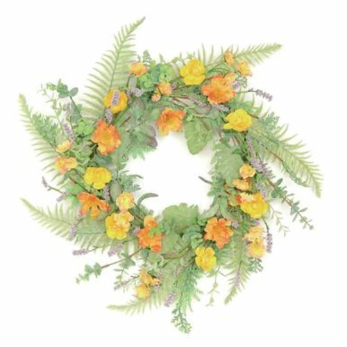Mini Ranunculus with Sage Artificial Spring Floral Wreath, Yellow 24-Inch - IMAGE 1