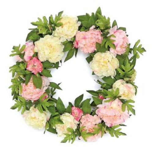 Peonies Artificial Spring Floral Wreath, Pink and Green 24-Inch - IMAGE 1