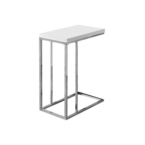 """25.25"""" Silver and White Glossy Finish Contemporary Rectangular Accent Table - IMAGE 1"""