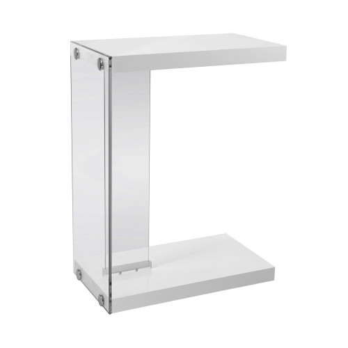 """24.75"""" Clear and White Glossy Finish Contemporary Rectangular Accent Table with Tempered Glass - IMAGE 1"""