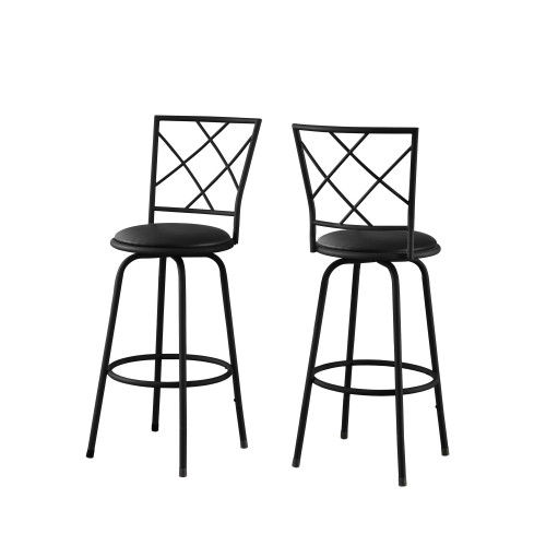 """Set of 2 Black Contemporary Upholstered Swivel Barstools with Back 44"""" - IMAGE 1"""