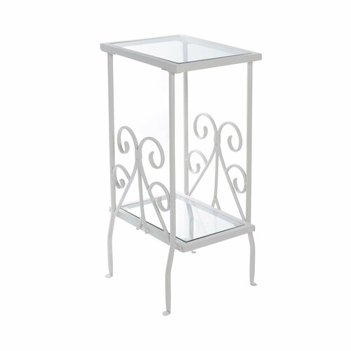 "30"" White and Clear Rectangular Accent Table with Tempered Glass Top - IMAGE 1"