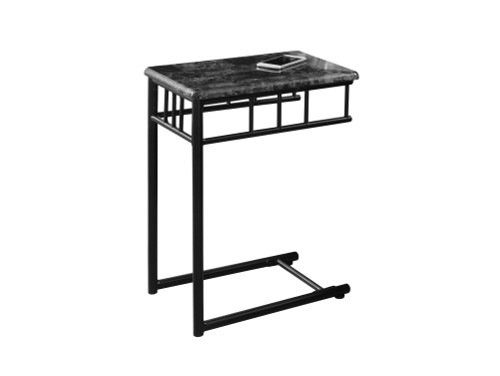 """24"""" Black and White Contemporary Rectangular Marble Top Accent Table - IMAGE 1"""