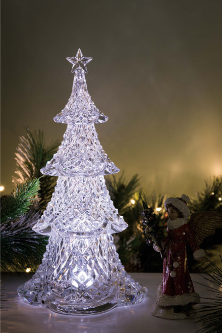"Set of 2 Clear Diamond Cut Christmas Tree Tabletop Decor 15.5"" - IMAGE 1"
