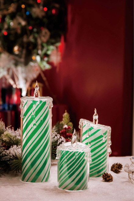"Set of 2 Green and White LED Lighted Spearmint Candle Set Tabletop Decor 9.5"" - IMAGE 1"