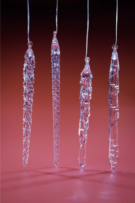 "Set of 8 Clear Contemporary LED Christmas String Icicle Lights 10.75"" - IMAGE 1"