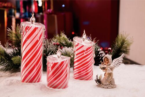 Set of 6 Red and White LED Lighted Peppermint Candles Set Tabletop Decor - IMAGE 1