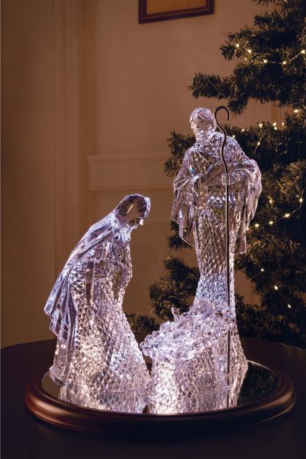 "Set of 2 Clear Large Diamond Cut Holy Family Nativity Tabletop Decor 16"" - IMAGE 1"