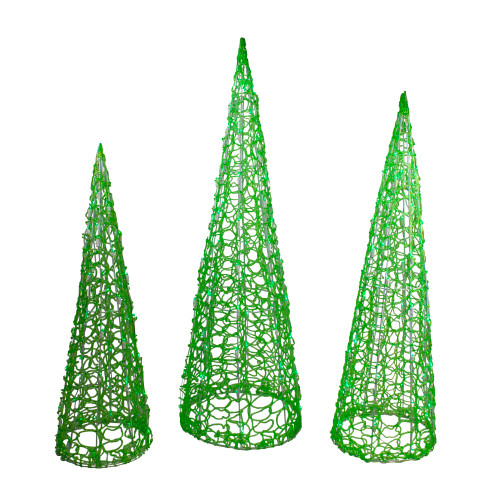 Set of 3 Green LED Lighted Cone Tree Christmas Outdoor Decoration - IMAGE 1