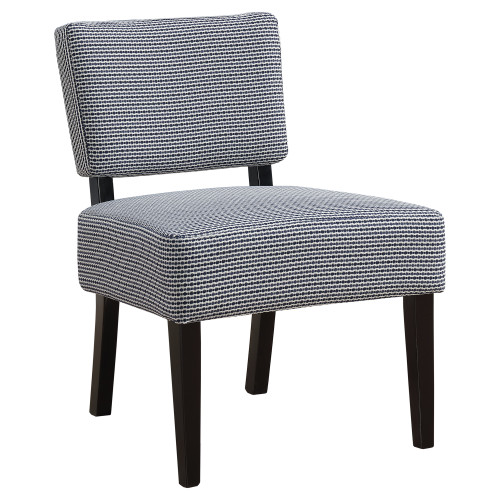 """31.5"""" Blue and Black Upholstered Contemporary Accent Armless Chair - IMAGE 1"""